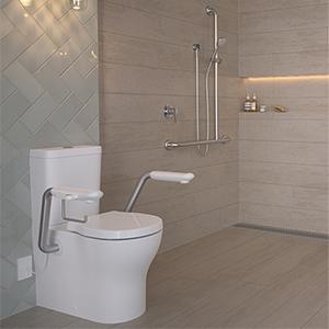 Integrated Armrest on Toilet Suites